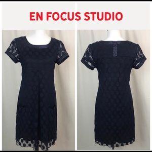 Enfocus Studio NWOT Navy Polka Dot Lined Dress
